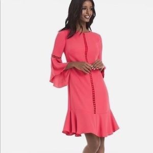 WHBM coral bell sleeve dress size 0